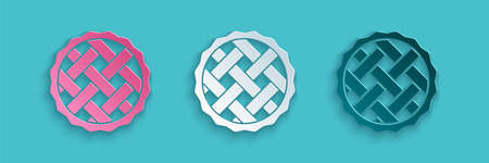 Paper cut Homemade pie icon isolated on blue background. Paper art style. Vector