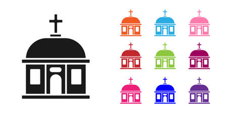 Black Santorini building icon isolated on white background. Traditional Greek white houses with blue roofs European culture. Set icons colorful. Vector