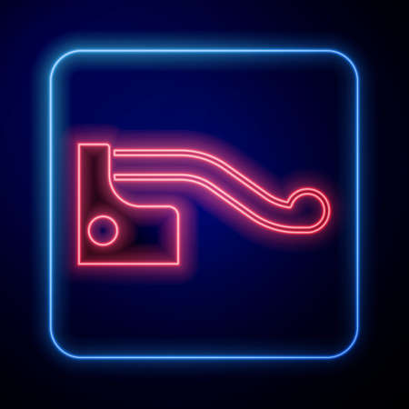 Glowing neon Bicycle brake icon isolated on black background. Vector
