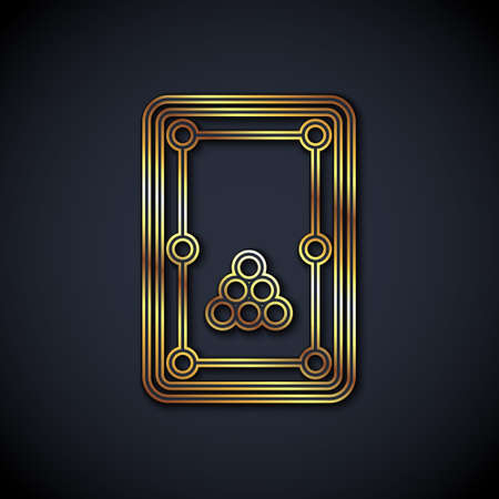 Gold line Billiard table icon isolated on black background. Pool table. Vector