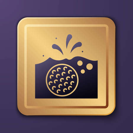 Purple Golf ball in water icon isolated on purple background. Gold square button. Vector