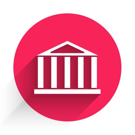White Parthenon from Athens, Acropolis, Greece icon isolated with long shadow. Greek ancient national landmark. Red circle button. Vector