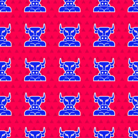 Blue Minotaur icon isolated seamless pattern on red background. Mythical greek powerful creature the half human bull legendary minotaur from cretan labyrinth. Vector