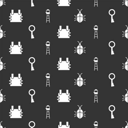 Set System bug concept, Old key, Bulletproof vest and Watch tower on seamless pattern. Vector