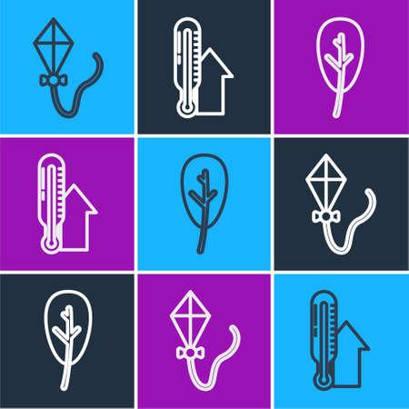Set line Kite, Leaf or leaves and Meteorology thermometer icon. Vector Vektorové ilustrace