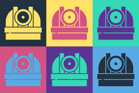 Pop art Astronomical observatory icon isolated on color background. Observatory with a telescope. Scientific institution. Vector Vecteurs