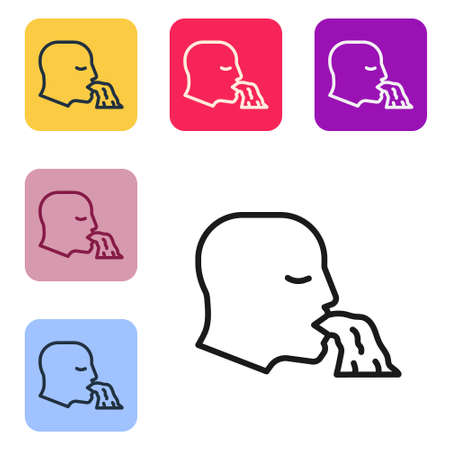 Black line Vomiting man icon isolated on white background. Symptom of disease, problem with health. Nausea, food poisoning, alcohol poisoning concept. Set icons in color square buttons. Vector