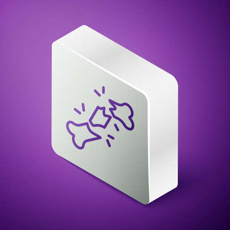 Isometric line Human broken bone icon isolated on purple background. Silver square button. Vector
