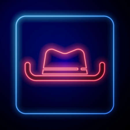 Glowing neon Western cowboy hat icon isolated on blue background. Vector
