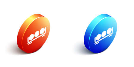 Isometric Billiard balls on a stand icon isolated on white background. Billiard balls on a shelf. Orange and blue circle button. Vector