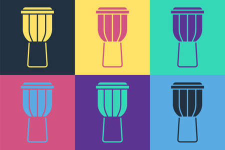 Pop art Drum icon isolated on color background. Music sign. Musical instrument symbol. Vector Ilustração Vetorial