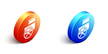 Isometric Ancient Greece chariot icon isolated on white background. Orange and blue circle button. Vector