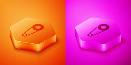 Isometric Bicycle chain with cogwheels icon isolated on orange and pink background. Bike chain sprocket transmission. Hexagon button. Vector