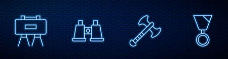 Set line War axe, Military mine, Binoculars and reward medal. Glowing neon icon on brick wall. Vector