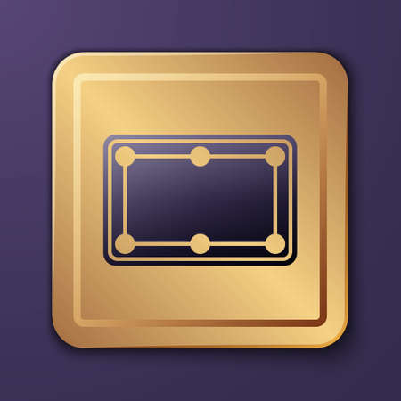 Purple Billiard table icon isolated on purple background. Pool table. Gold square button. Vector