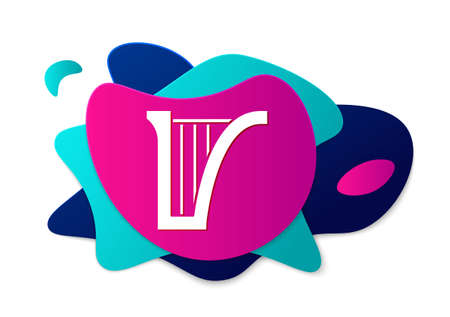 Color Harp icon isolated on white background. Classical music instrument, orhestra string acoustic element. Abstract banner with liquid shapes. Vector