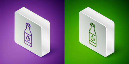 Isometric line Tabasco sauce icon isolated on purple and green background. Chili cayenne spicy pepper sauce. Silver square button. Vector