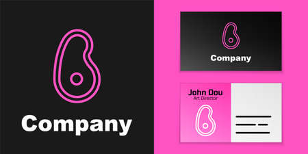 Pink line Steak meat icon isolated on black background. Logo design template element. Vector