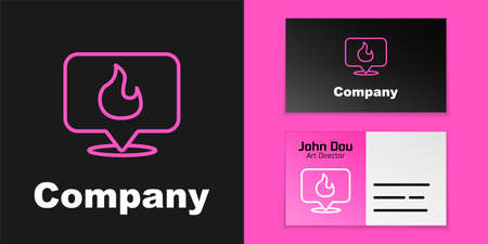 Pink line Map pointer with fire flame icon isolated on black background. Fire nearby. Logo design template element. Vector