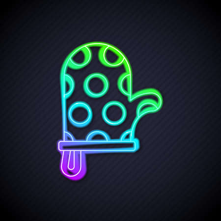 Glowing neon line Oven glove icon isolated on black background. Kitchen potholder sign. Cooking glove. Vector