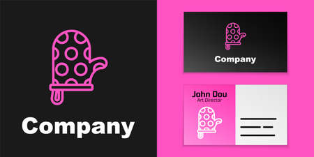 Pink line Oven glove icon isolated on black background. Kitchen potholder sign. Cooking glove. Logo design template element. Vector