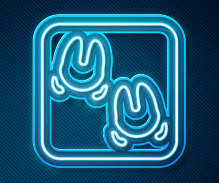 Glowing neon line Wild boar paw footprint icon isolated on blue background. Vector Illustration