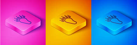 Isometric line Bear paw footprint icon isolated on pink and orange, blue background. Square button. Vector Illustration