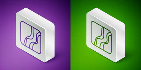 Isometric line Snake paw footprint icon isolated on purple and green background. Silver square button. Vector Illustration