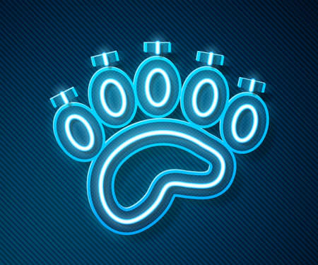 Glowing neon line Bear paw footprint icon isolated on blue background. Vector