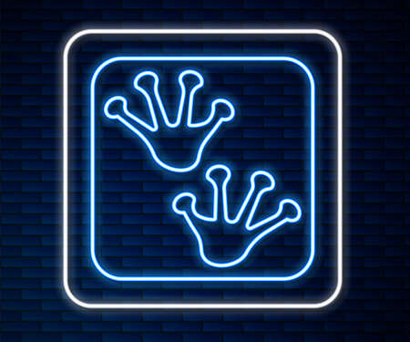 Glowing neon line Frog paw footprint icon isolated on brick wall background. Vector