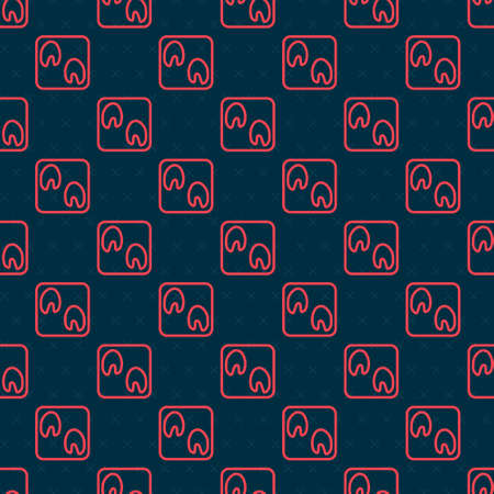Red line Horse paw footprint icon isolated seamless pattern on black background. Vector