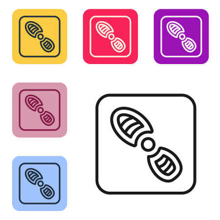 Black line Human footprints shoes icon isolated on white background. Shoes sole. Set icons in color square buttons. Vector