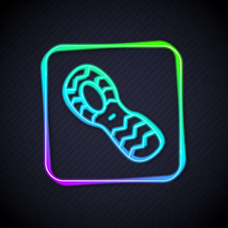 Glowing neon line Human footprints shoes icon isolated on black background. Shoes sole. Vector Illustration