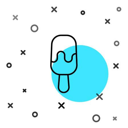 Black line Ice cream on stick icon isolated on white background. Sweet symbol. Random dynamic shapes. Vector