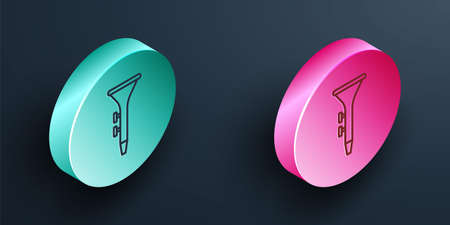 Isometric line Musical instrument drum and drum sticks icon isolated on black background. Turquoise and pink circle button. Vector