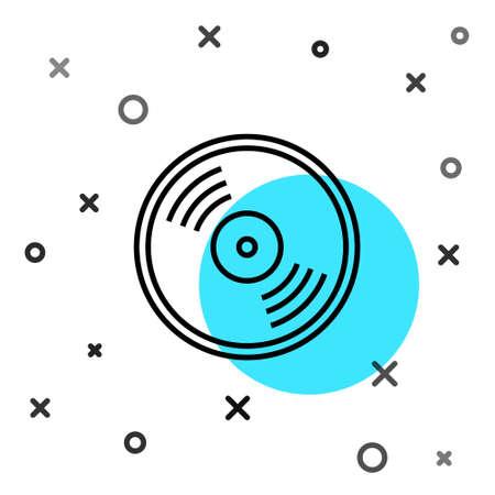 Black line Vinyl disk icon isolated on white background. Random dynamic shapes. Vector
