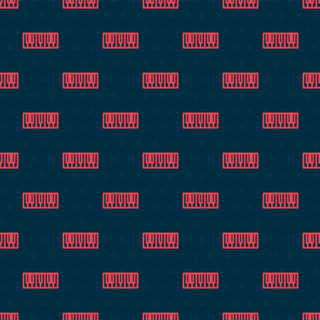 Red line Music synthesizer icon isolated seamless pattern on black background. Electronic piano. Vector