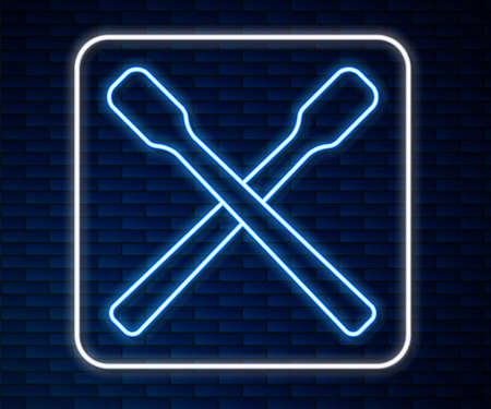Glowing neon line Drum sticks icon isolated on brick wall background. Musical instrument. Vector Illustration