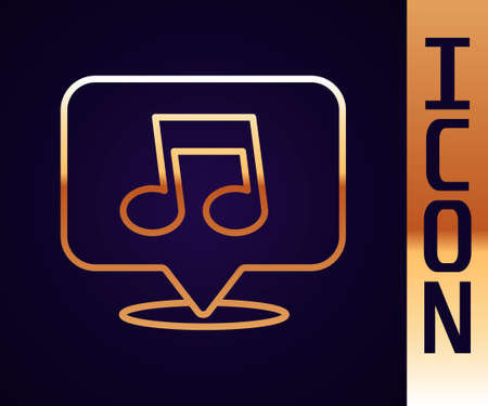Gold line Music note, tone icon isolated on black background. Vector