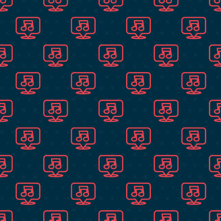 Red line Music note, tone icon isolated seamless pattern on black background. Vector Illustration