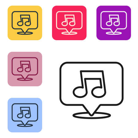 Black line Music note, tone icon isolated on white background. Set icons in color square buttons. Vector Illustration