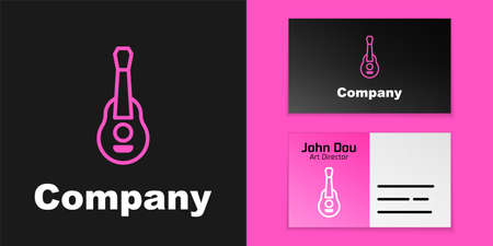 Pink line Guitar icon isolated on black background. Acoustic guitar. String musical instrument. Logo design template element. Vector