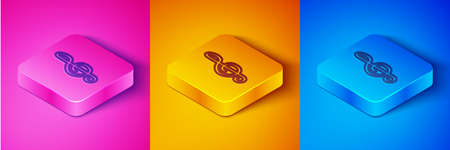 Isometric line Treble clef icon isolated on pink and orange, blue background. Square button. Vector