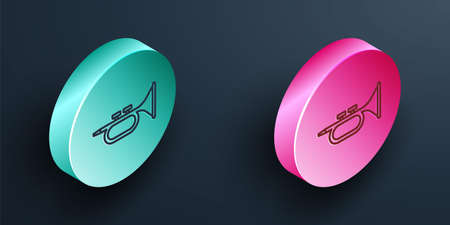 Isometric line Musical instrument trumpet icon isolated on black background. Turquoise and pink circle button. Vector