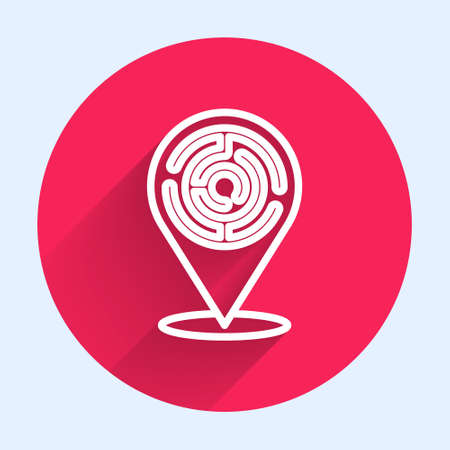 White line Minotaur maze or labyrinth icon isolated with long shadow. Ancient Greek mythology. Red circle button. Vector