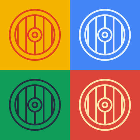 Pop art line Greek shield with greek ornament icon isolated on color background. Vector