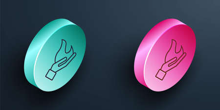 Isometric line Hand holding a fire icon isolated on black background. Turquoise and pink circle button. Vector