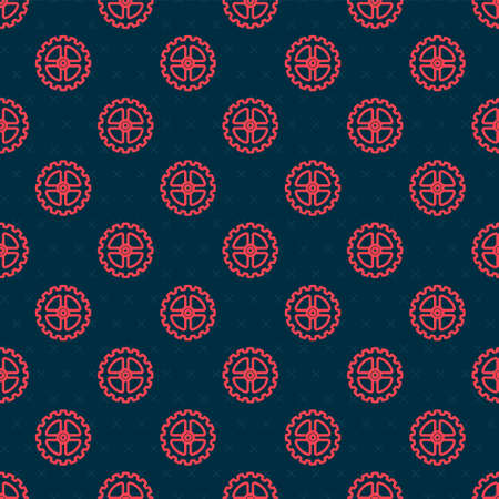 Red line Bicycle sprocket crank icon isolated seamless pattern on black background. Vector Illustration