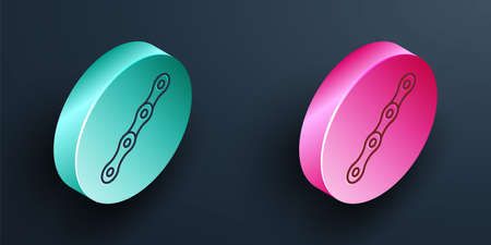 Isometric line Bicycle chain icon isolated on black background. Bike chain sprocket transmission. Turquoise and pink circle button. Vector