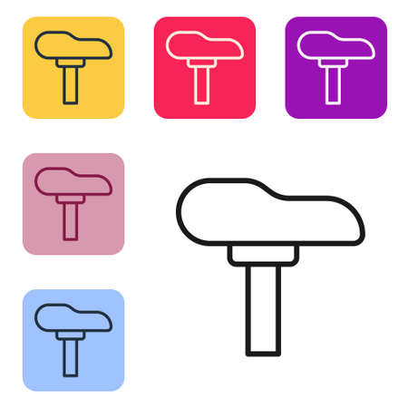 Black line Bicycle seat icon isolated on white background. Bicycle saddle. Set icons in color square buttons. Vector